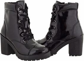 Bota Coturno Feminino Cano Baixo Verniz Cr Shoes 1701
