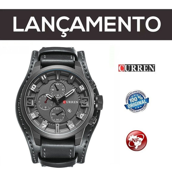 Relógio Masc Curren Preto Original Couro C/ Nf