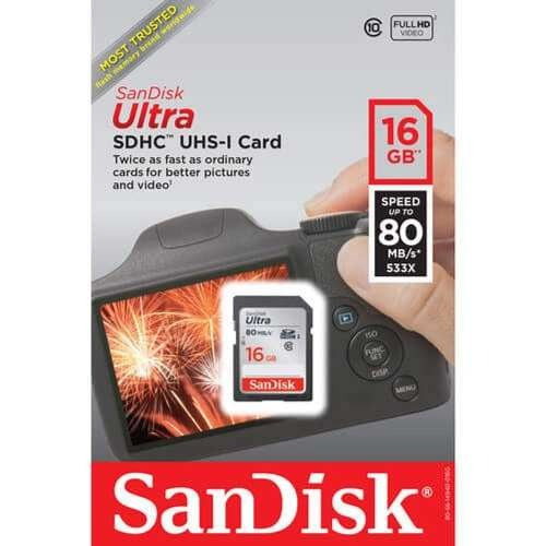 Cartão Sd Sdxc Ultra Sandisk 16gb 80mb/s Uhs-i Lacrado