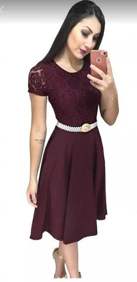 Vestido Evangélico Social Renda Rodado Godê Roupas Femininas