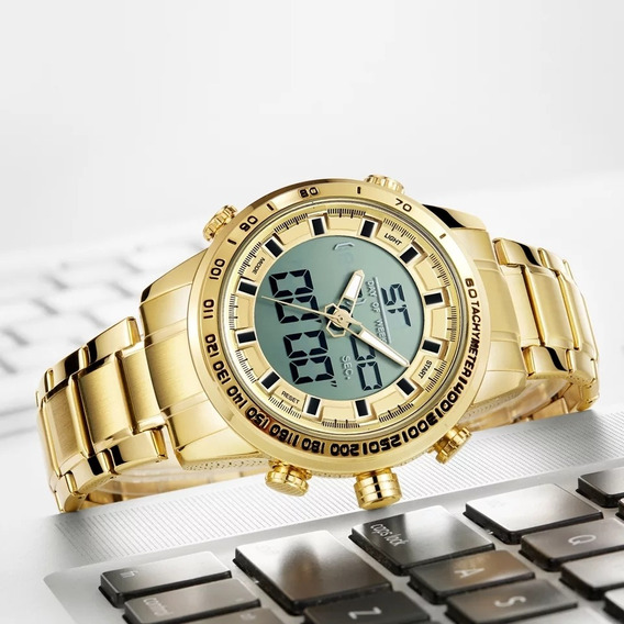 Relógio Masculino Digital Dourado