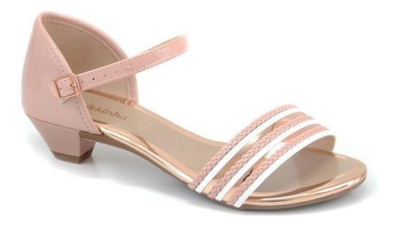 Sandália Salto Baixo Molekinha Rosa Branco Ouro Rosa - 20805