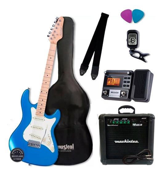 Kit Guitarra Strinberg Sts100 Regulada + Pedaleira Moer Ge100