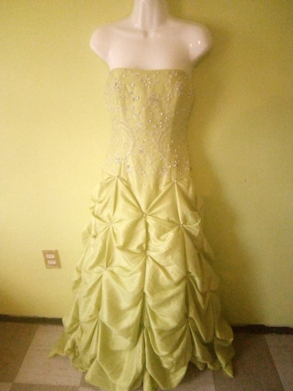 Vestido De Noche Verde Limón Le Gala Senuevo Talla 4