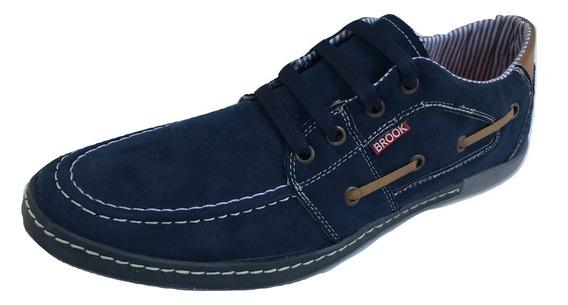 Zapato Casual Nautico Brook 801 Hombre Azul Textil Sintetico