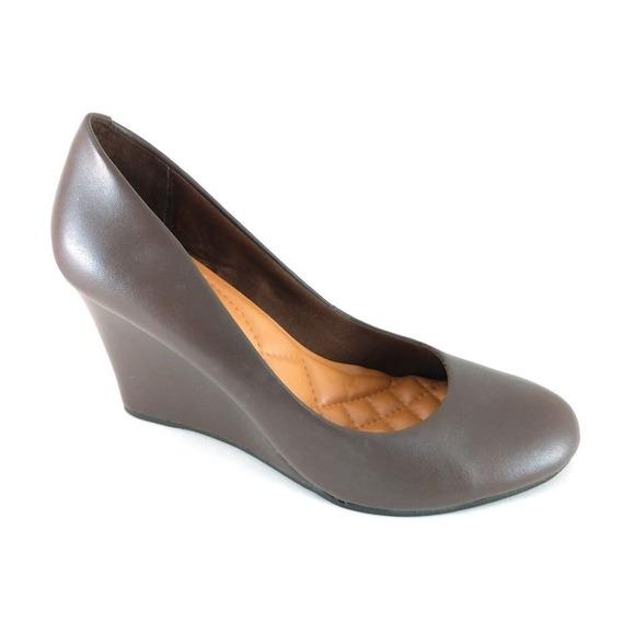 Sapato Anabela Marrom - Frete Grátis