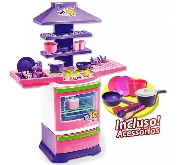 Cozinha Infantil Brinquedo Completa Fogão Com Acessórios
