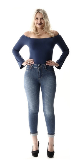 Calça Jeans Fem Cropped C/ Aplicação Barra Dobrada - Swary