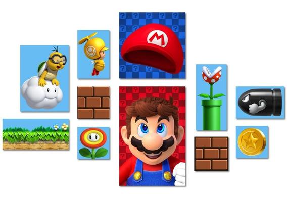 Kit 11 Placas Decorativas - Mario Bros
