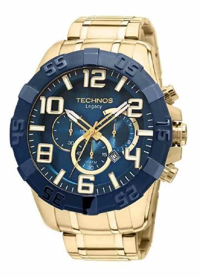 Relógio Technos Masculino Cronógrafo Dourado Os20iq/4a + Nf