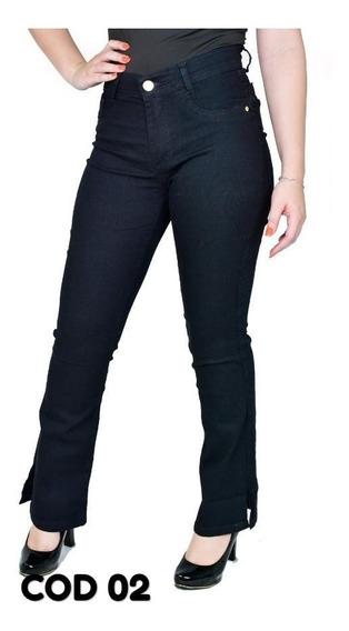Kit 04 Calcas Jeans Feminina Cintura Alta Levanta Bumbum