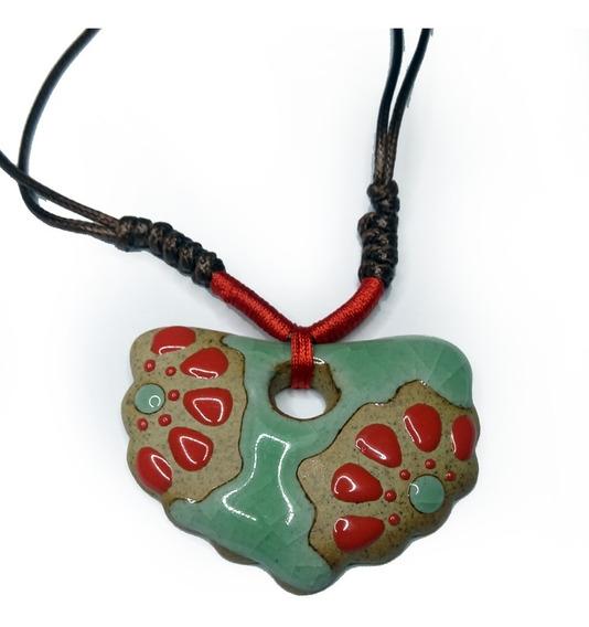 Colar Pingente Cerâmica Japonesa Artesanal Fio De Seda