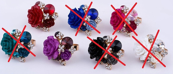 Anel Flores Rosas Cristais