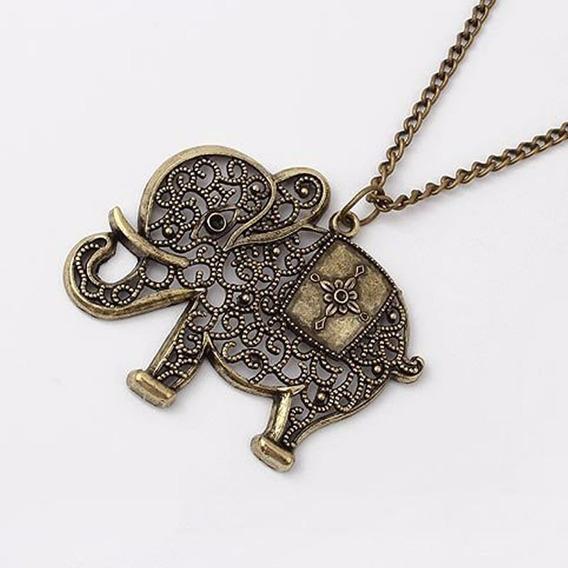 Colar Comprido Longo Vintage Amuleto Sorte Elefante C539