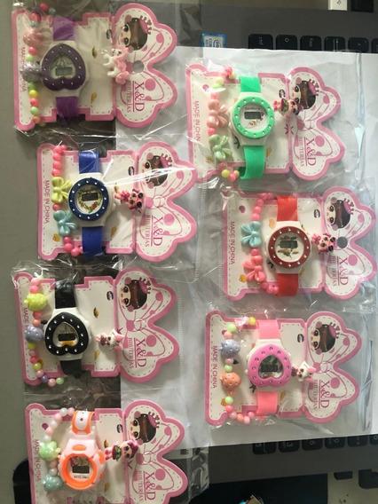 Kit12conjunto De Elásticos Coloridos / Pulseiras / + Relógio