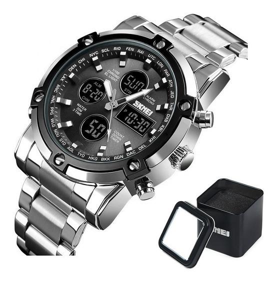 Reloj Skmei 1389 Con Caja Metálica Dual Lujo Elegante