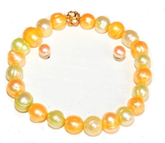 1 Pulsera Perlas Cultivadas 7-8 Mm Redondo + Aretes