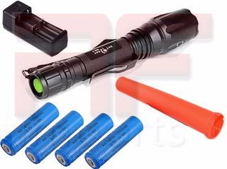 Lanterna Tática Led Cree T6 Police Swat Militar + 4 Bateria