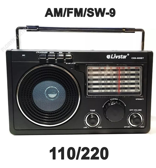 Rádio Bluetooth Am Fm Usb Sd Bivolt Entrada Fone De Ouvido Entrega Imediata