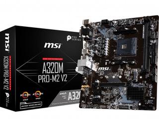 Motherboard Msi A320m Pro-m2 V2 Am4 Ryzen Apu Athlon Ddr4