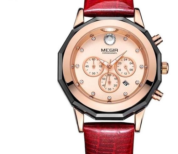 Relógio Feminino Megir 2042 Couro Data Cronômetro Original