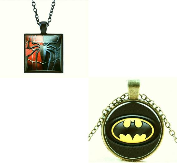 Kit 2 Colares Cabochão Homem Aranha / Batman