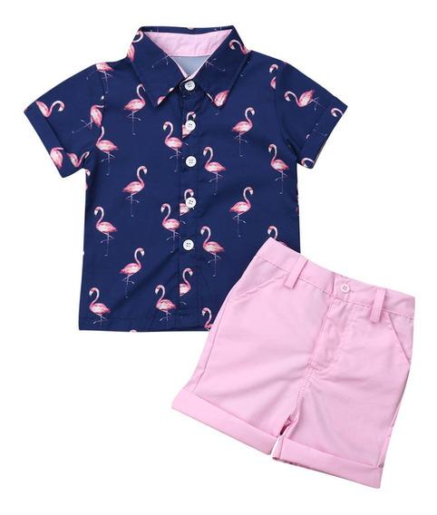 Ropa Para Niño Camisa Flamingos Y Short Algodón