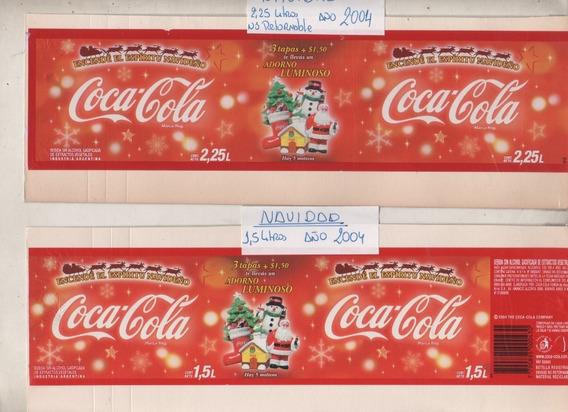 2 Antiguas Etiquetas * Coca Cola * Promo Navidad 2004 -