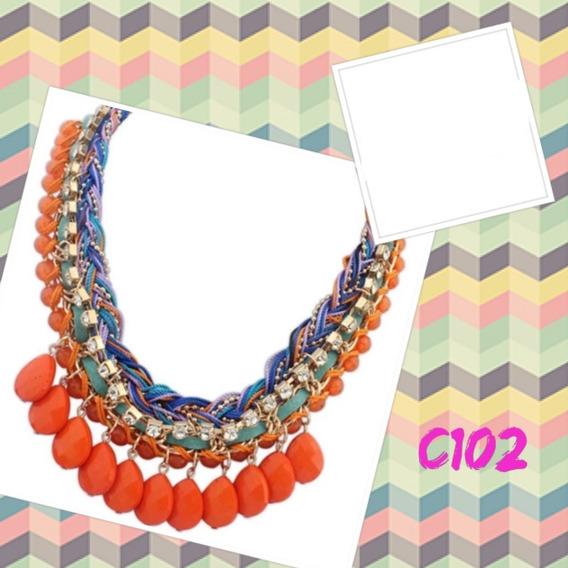 Collares Collar Bisuteria De Moda Pedrería En Gota (2u X Paq