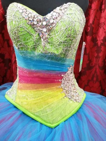 Vestido Xv Años 2 Piezas Arcoiris Talla M Nuevo