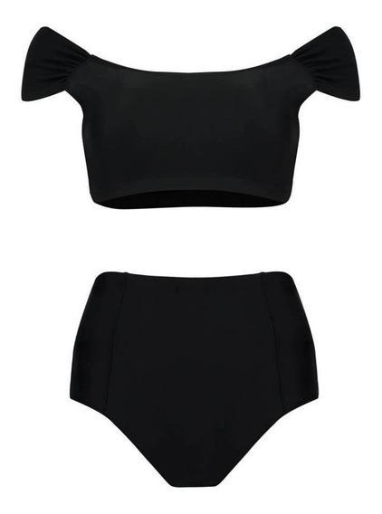 Biquini-top Blusinha Hotpant Preto- Surf/wake/kite