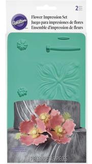 Set 2 Moldes Silicona Wilton Para Flores Y Hojas Texturadas