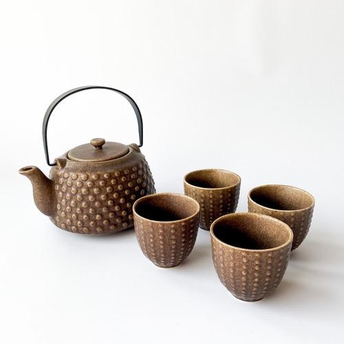 Set Tetera Ceramica Terra 750ml +4 Cuencos +infusor Noi Home