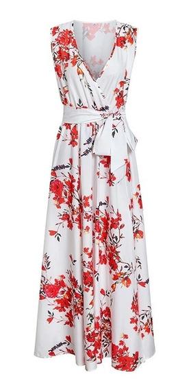 Vestidos De Fiesta Largo Tropical Blanco Con Flores Rojas