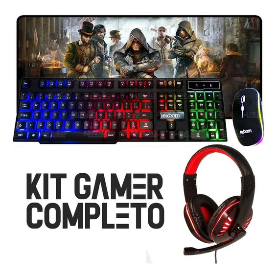 Kit Gamer Completo Teclado Led C/ Mouse Pad 70x35 + Headset