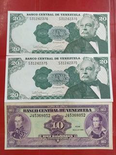 Tes Billetes, Dos De 20bs Año 1992 Y Uno De 10bs Año 1990