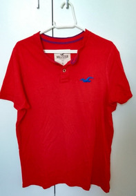 Camiseta Masculina Hollister Manga Curta Vermelha Roupa
