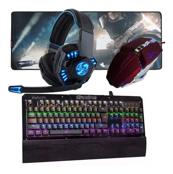 Combo Gamer Teclado Mecanico Mouse Mousepad Headset Dragon I