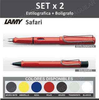 Juego Lapicera Pluma + Boligrafo Lamy Safari Set X 2 Combo