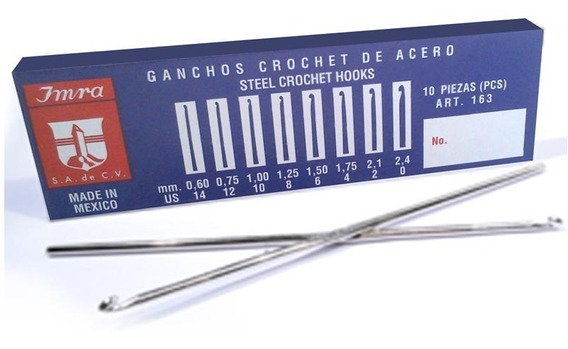 Aguja De Crochet Para Claritos Caja X12 Nº6 A Nº12 W20