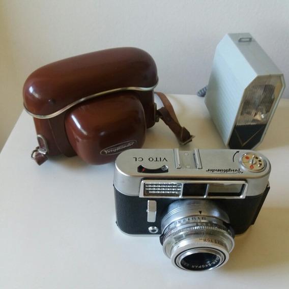 Câmera Voigtländer Com Flash E Case Original Em Couro