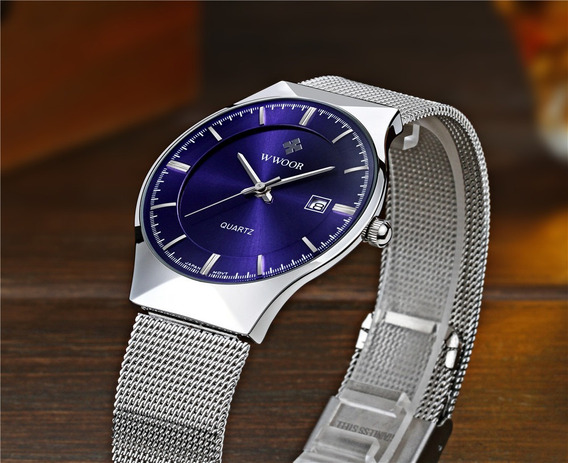 Wwoor Hombre 8016 Reloj Ultrafino Acero Inoxidable