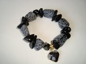 Pulseira Elástica Pedra Natural Ônix Preto Obsidiana Flocos
