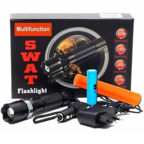 Lanterna Tática 250000 Swat Police Com Sinalizador E Bateria