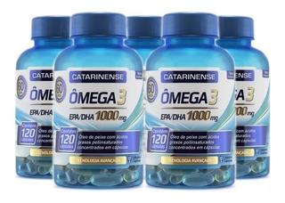 Kit 5 Potes Omega 3 1000mg Catarinense 120 Caps Val 04/21