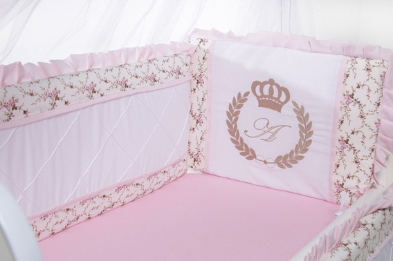 Kit Para Mini Moisés Berço Canaã Menina Personalizado Rosa
