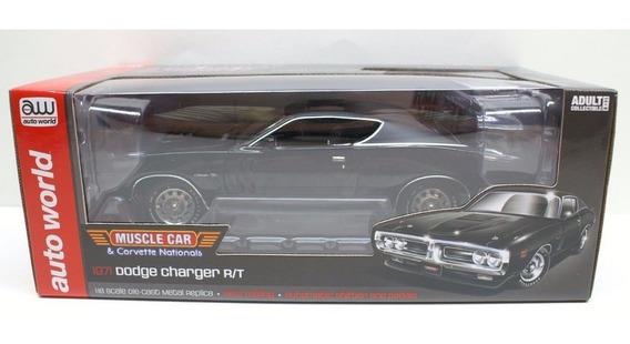 Mini Dodge Charger Rt 1971 Black 1:18 Auto World