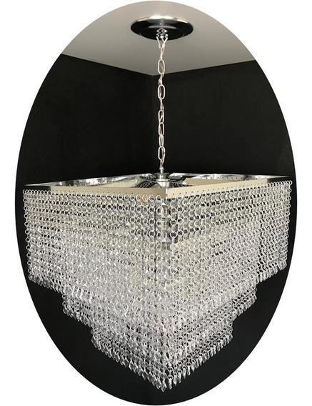 Lustre Quadrado Cristal Acrílico Vitória 45x45x70