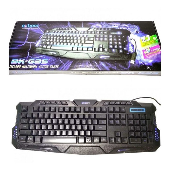 Teclado Gamer Multimídia Luminoso Usb Exbom Bk-g35 - Novo
