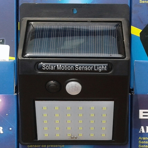 Luminaria Led Com Placa Solar E Sensor De Movimento 30 Leds